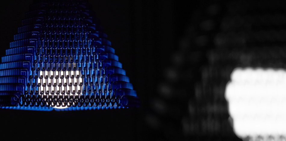 ZooM Lampshade - 3D printed in blue and white material.