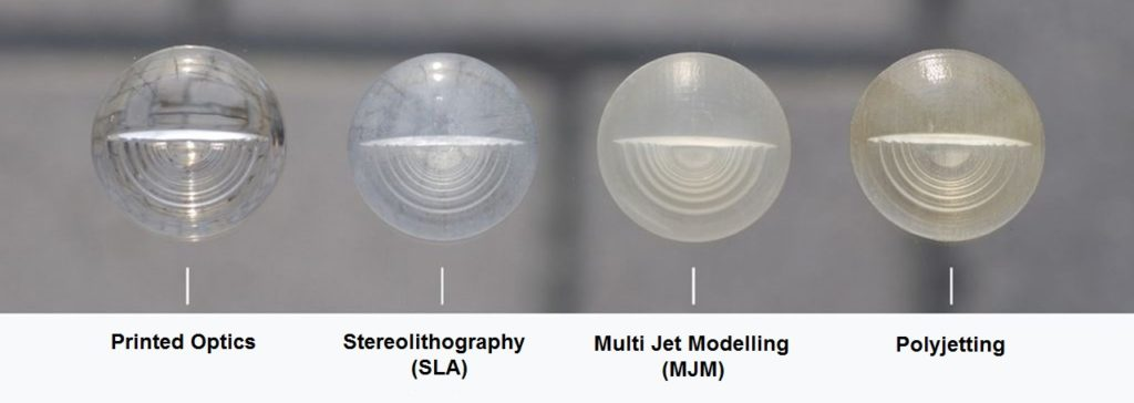 A picture by 3DPrinting.Lighting showing a benchmark of clear 3D print resins, ranging from optically clear to semi-transparent