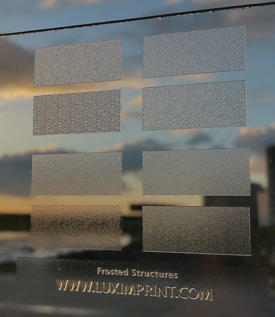 Image of various frosted finishes as defined and printed by Luximprint