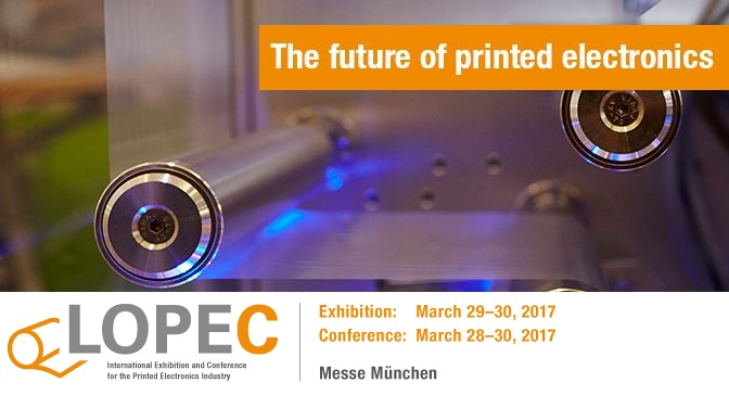 Banner of the Lopec 2017 printed electronics conference and exhibition Messe München Germany