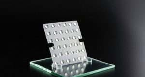 Image of 3D printed optical lens array by Luximprint used as header image for blog post on DLP 3D Printing lens arrays