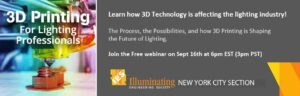 Banner image for the announcement of the IESNYC 3D Printint Event for Lighting Professionals